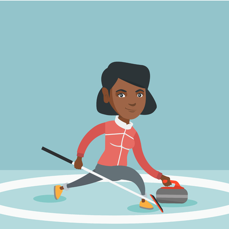 African-american sportswoman playing curling on a skating rink with stone and broom. Young curling player sliding on the ice and delivering a stone. Vector cartoon illustration. Square layout.