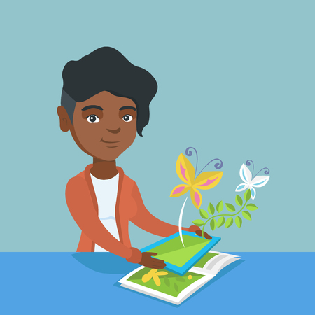 Young african-american woman holding a tablet computer above the book and looking at butterflies flying out from the device. Concept of augmented reality. Vector cartoon illustration. Square layout.