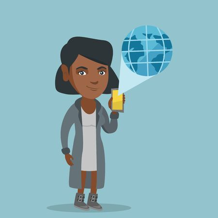 African-american woman holding a smartphone with a model of the planet earth coming out of the device. Concept of international technology communication. Vector cartoon illustration. Square layout.