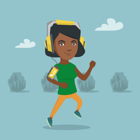 African woman running with earphones and armband for smartphone. Young woman using a smartphone with armband to listen to music while jogging in the park. Vector cartoon illustration. Square layout.
