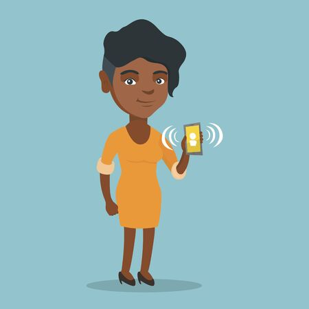 Young african-american woman holding a ringing mobile phone. Full length of woman showing a ringing phone in hand. Happy woman answering a phone call. Vector cartoon illustration. Square layout.