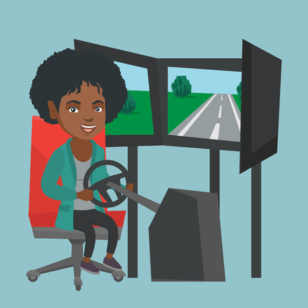 African-american woman playing video game with a gaming steering wheel. Woman driving a car simulator. Young cheerful woman playing car racing video game. Vector cartoon illustration. Square layout.