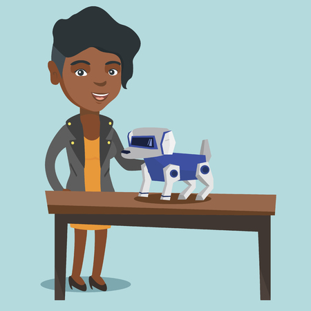 Happy young african-american woman playing with a robotic dog. Woman standing next to the table with a cyber dog on it. Woman stroking a robotic dog. Vector cartoon illustration. Square layout.