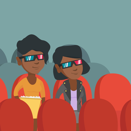 Young african-american women watching three D movie in the theatre and eating popcorn. Friends wearing three D glasses and watching movie in the cinema. Vector cartoon illustration. Square layout. Illustration