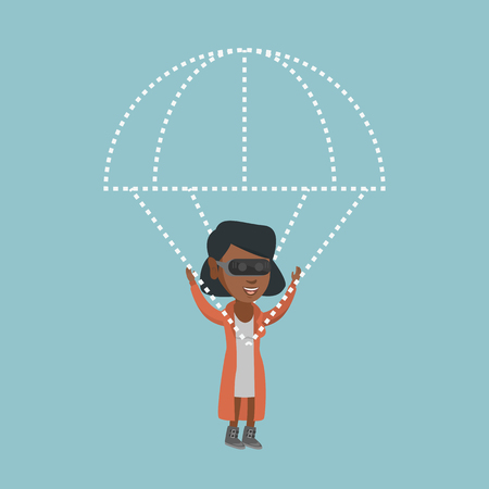 African-american woman wearing virtual reality glasses and flying with a parachute. Young woman in vr headset having fun while flying in virtual reality. Vector cartoon illustration. Square layout.