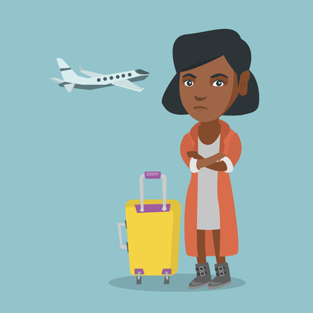 Young african airplane passenger frightened by future flight. Woman suffering from fear of flying. Terrified passenger with suitcase waiting for a flight. Vector cartoon illustration. Square layout.