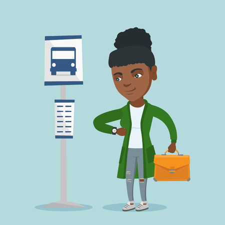 African-american business woman waiting for a bus at the bus stop. Young business woman standing at the bus stop. Woman looking at her watch at the bus stop. Vector cartoon illustration. Square layout