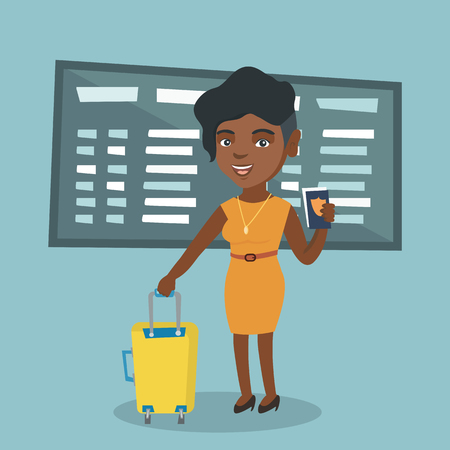 Young african-american airplane passenger waiting for a flight at the airport and holding a passport. Happy woman standing at the airport with a suitcase. Vector cartoon illustration. Square layout. Illustration
