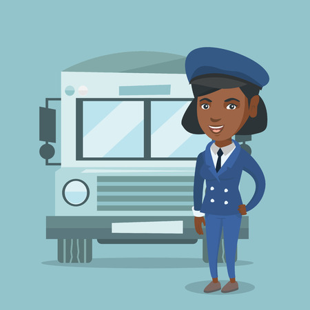 African-american cheerful female school bus driver standing on the background of bus. Full length of happy smiling school bus driver in uniform. Vector cartoon illustration. Square layout. Illustration