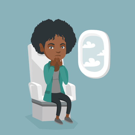 Young african woman shocked by plane flight in the turbulent area. Frightened airplane passenger sitting in airplane seat and suffering from aerophobia. Vector cartoon illustration. Square layout. Illustration