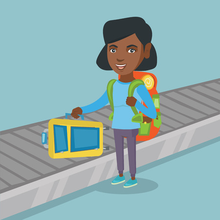 Happy african-american passenger picking up suitcase from luggage conveyor belt at the airport. Young cheerful passenger taking luggage from conveyor belt. Vector cartoon illustration. Square layout. Illustration