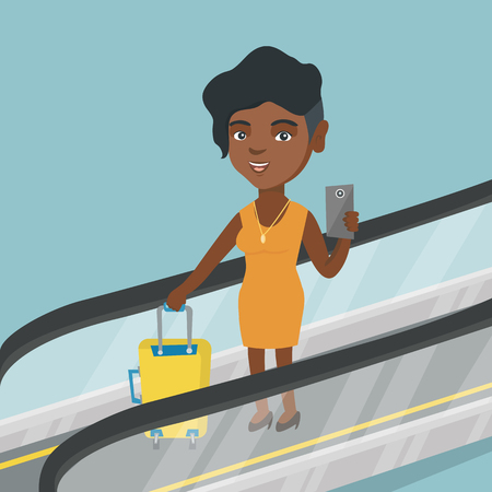 Young african woman taking photo with a smartphone on escalator at airport. Business woman standing on escalator with suitcase and looking at smartphone. Vector cartoon illustration. Square layout. Ilustração