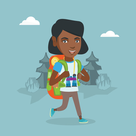 Young african-american backpacker with a backpack and binoculars walking outdoors. Cheerful backpacker hiking in the forest during summer trip. Vector cartoon illustration. Square layout.