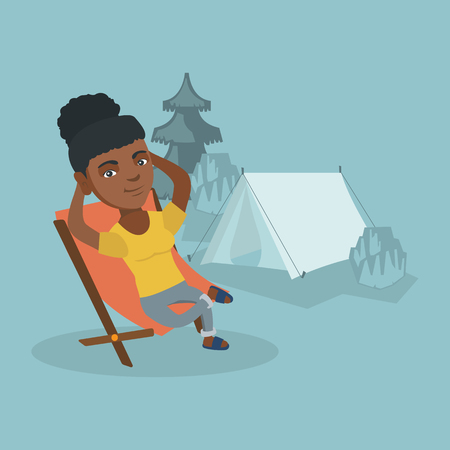 Young african woman sitting in a folding chair on the background of camping with a tent. Satisfied woman relaxing and enjoying her vacation in the camping. Vector cartoon illustration. Square layout