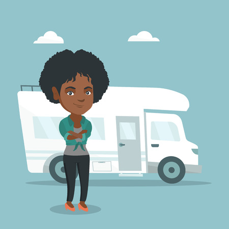 Full length of young african-american woman standing with arms crossed on the background of motorhome. Smiling woman enjoying her vacation in a motorhome. Vector cartoon illustration. Square layout.