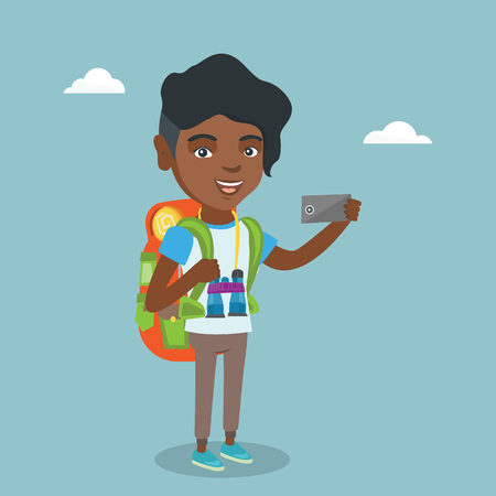 Young african-american traveler woman making selfie. Full length of smiling traveler woman with a backpack and binoculars taking photo with a mobile phone. Vector cartoon illustration. Square layout.