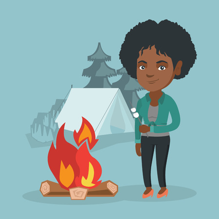 African woman roasting marshmallows over campfire on the background of camping site with a tent. Woman standing near campfire and roasting marshmallows. Vector cartoon illustration. Square layout.