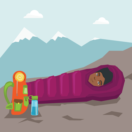 Young african-american woman sleeping in a sleeping bag during a hike in the mountains. Woman laying on the ground wrapped up in a mummy sleeping bag. Vector cartoon illustration. Square layout.