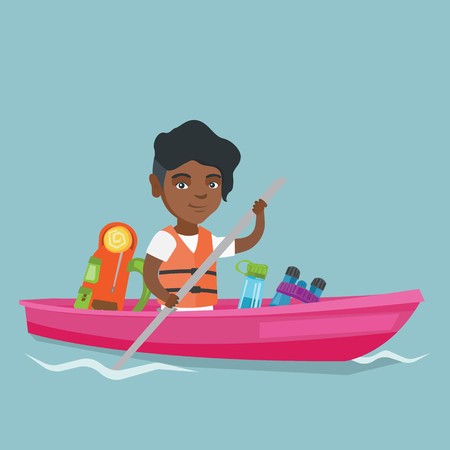 Young african-american traveler woman riding a kayak on the river. Cheerful traveler woman traveling by kayak. Concept of travel and tourism. Vector cartoon illustration. Square layout.