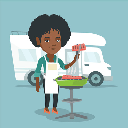 Young african-american woman preparing meat on grill on the background of camper van. Woman travelling by camper van and barbecuing meat outdoors. Vector cartoon illustration. Square layout.