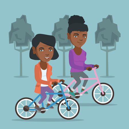 Retired african-american women riding bikes in the park. Senior women riding bicycles in the park. Active senior women enjoying walk with bicycles. Vector cartoon illustration. Square layout. Stock Illustratie