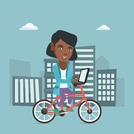 African-american business woman working on a laptop while riding a bicycle. Business woman riding a bicycle to work on the background of city buildings. Vector cartoon illustration. Square layout.