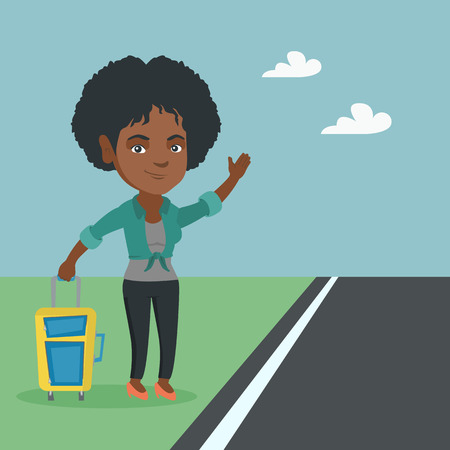 African woman with s suitcase hitchhiking on the roadside. Hitchhiking woman trying to stop a car on a highway. Woman catching a taxi car by waving hand. Vector cartoon illustration. Square layout.