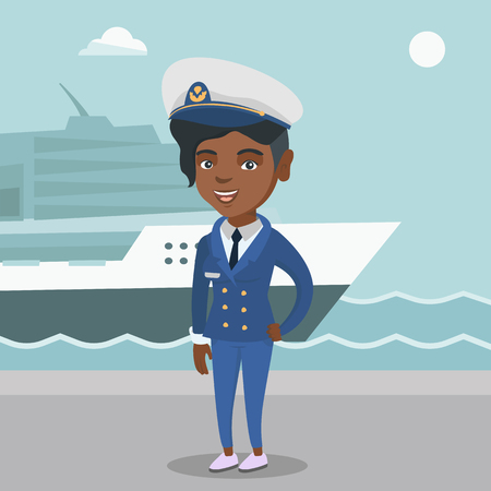 African-american female ship captain standing on the background of sea and cruise ship. Young ship captain in uniform standing on the seacoast background. Vector cartoon illustration. Square layout. Stock Illustratie
