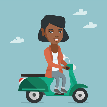 Young african-american woman riding a scooter outdoor. Smiling business woman traveling on a scooter. Happy woman enjoying her trip on a scooter. Vector cartoon illustration. Square layout.