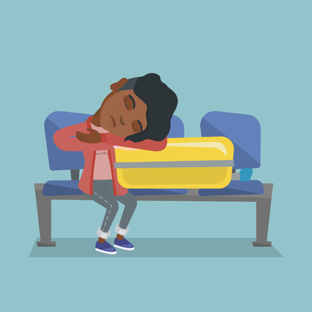 Tired african-american passenger sleeping on a suitcase at the airport. Young exhausted woman waiting for a flight and sleeping on a suitcase at the airport. Vector cartoon illustration. Square layout