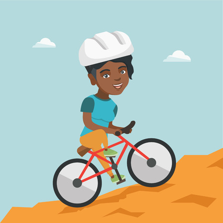 Happy african-american traveler woman riding a mountain bike. Young smiling traveler woman in helmet traveling in the mountains on a mountain bicycle. Vector cartoon illustration. Square layout. 矢量图像