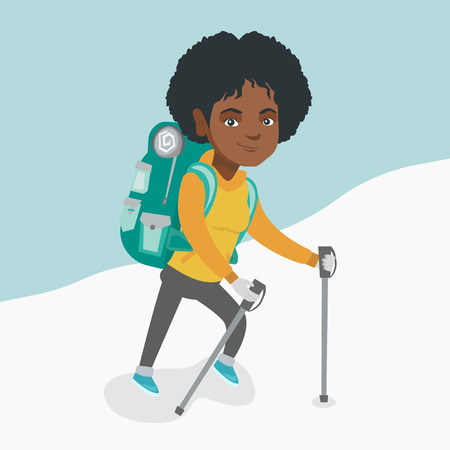 African mountaineer climbing a snowy ridge with help of hiking poles. Young mountaineer with a backpack and trekking poles walking up along a snowy ridge. Vector cartoon illustration. Square layout. Ilustrace