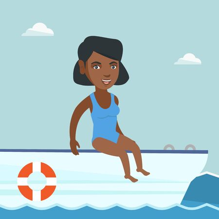 Young african-american woman tanning on the front of the yacht. Happy woman travelling by yacht. Woman resting during summer trip on the yacht. Vector cartoon illustration. Square layout. Illustration