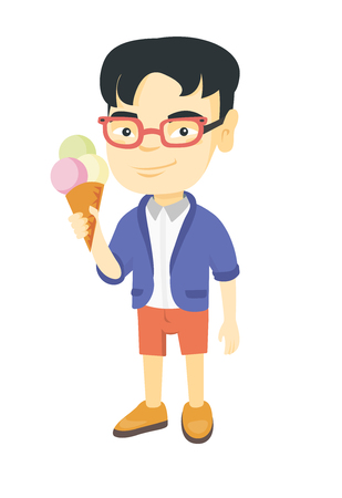 Little asian boy holding an ice cream cone. Cheerful boy eating a delicious ice cream cone. Vector sketch cartoon illustration isolated on white background.