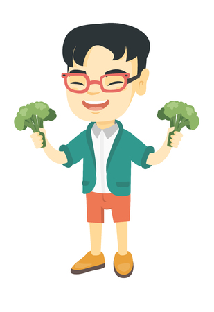 Little asian boy laughing and holding broccoli. Full length of smiling boy with broccoli in hands. Concept of healthy nutrition. Vector sketch cartoon illustration isolated on white background. 向量圖像