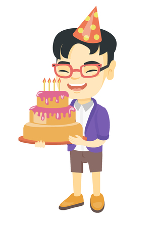 Little happy asian child in cap holding a birthday cake with candles. Cheerful laughing boy celebrating his birthday with a cake. Vector sketch cartoon illustration isolated on white background.