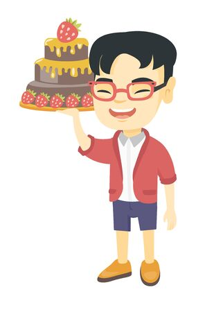 Little asian boy holding a strawberry cake. Full length of cheerful smiling boy standing with a chocolate cake in hands. Vector sketch cartoon illustration isolated on white background. Illustration