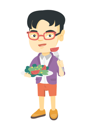 Little asian boy holding fork with tomato and plate with salad. Full length of cheerful boy eating vegetable salad. Vector sketch cartoon illustration isolated on white background.