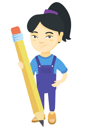 Young asian kid girl standing with a huge pencil. Full length of a little girl holding a big pencil. Vector sketch cartoon illustration isolated on white background. Stock Illustratie