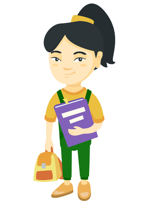 Asian pupil with backpack and tutorial. Full length of smiling happy pupil holding textbook and backpack in hands. Vector sketch cartoon illustration isolated on white background. Иллюстрация