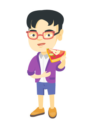 Cheerful asian boy eating tasty pizza. Full length of little boy holding a piece of pizza in hand and stroking his belly. Vector sketch cartoon illustration isolated on white background