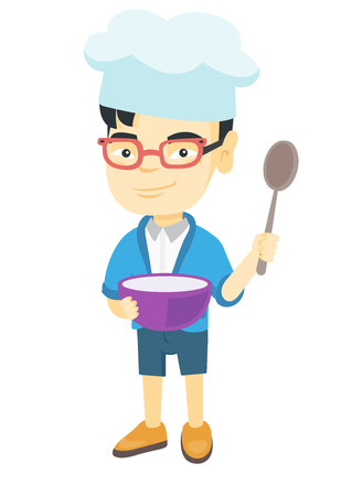 Little asian boy wearing chef hat and holding a saucepan and a kitchen spoon. Smiling boy with a saucepan and a spoon. Vector sketch cartoon illustration isolated on white background.
