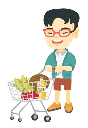 Little asian boy with his shopping trolley filled with groceries. Cheerful boy pushing a shopping trolley with some products in it. Vector sketch cartoon illustration isolated on white background. Illustration