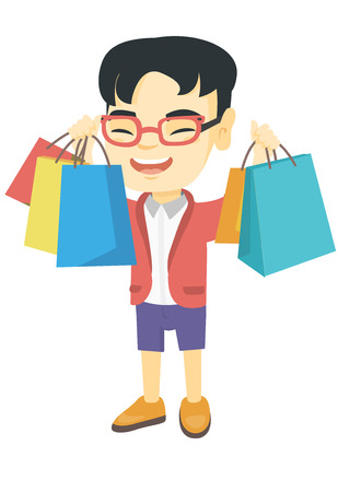 Asian boy holding many shopping bags. Happy boy standing with raised hands and showing a lot of shopping bags with purchases. Vector sketch cartoon illustration isolated on white background.