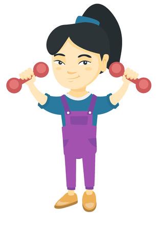 Little smiling asian girl holding dumbbells. Cheerful girl exercising with dumbbells. Happy girl raising dumbbells. Vector sketch cartoon illustration isolated on white background. Illustration