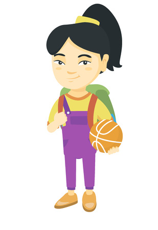 Young asian cheerful schoolgirl with backpack holding a basketball ball. Full length of little schoolgirl with a basketball ball. Vector sketch cartoon illustration isolated on white background.