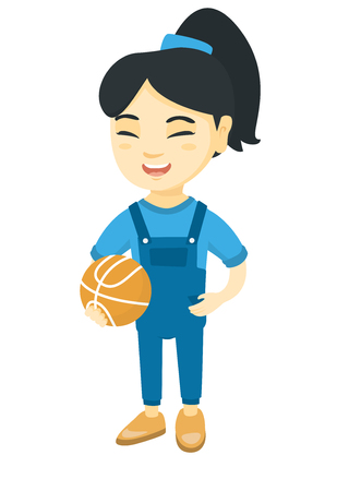 Asian cheerful schoolgirl laughing and holding a basketball ball. Happy smiling little schoolgirl with a basketball ball. Vector sketch cartoon illustration isolated on white background.