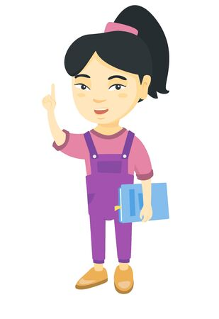 Asian schoolgirl holding textbook and pointing his forefinger up. Smiling schoolgirl pointing forefinger up. Vector sketch cartoon illustration isolated on white background. Illustration
