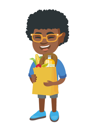 Little african boy holding a paper shopping bag full of groceries. Full length of smiling boy standing with a grocery bag in hands. Vector sketch cartoon illustration isolated on white background.
