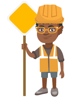 Little african-american builder boy holding road sign. Smiling boy in a builder reflective vest and hard hat standing near road sign. Vector sketch cartoon illustration isolated on white background.
